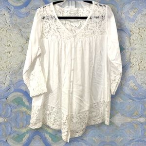 White lace v neck button long sleeve front button
